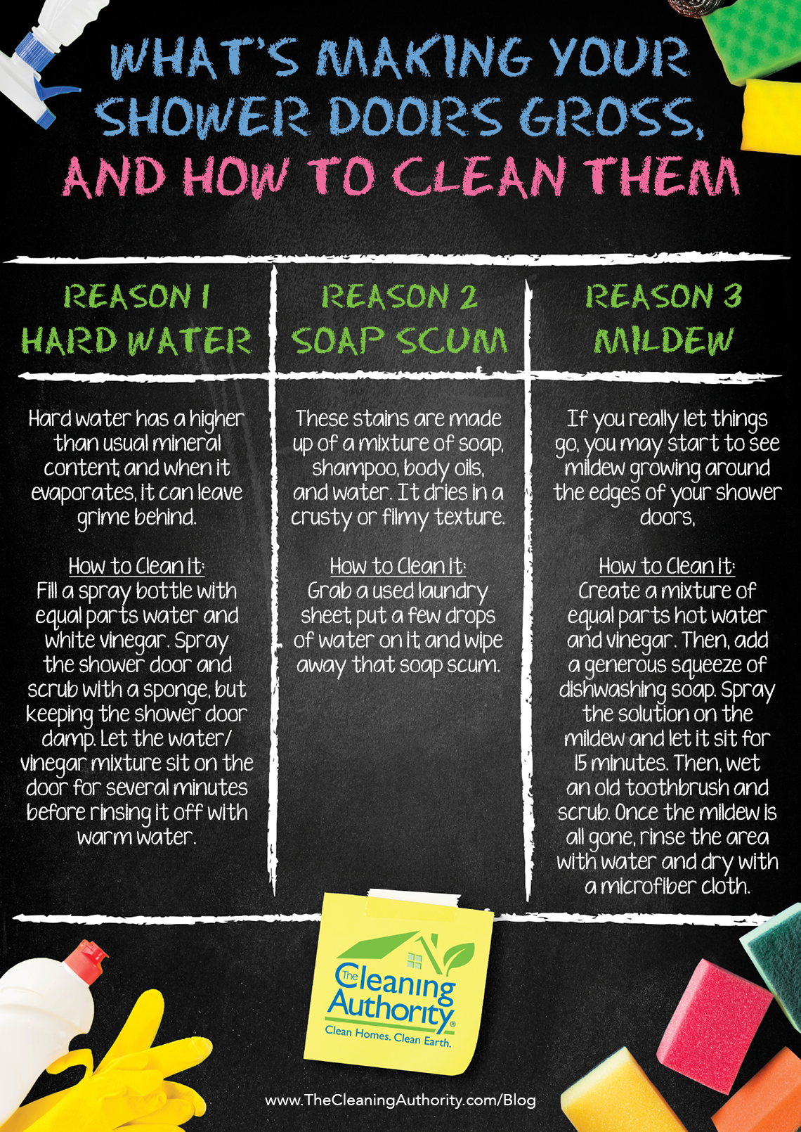 How to clean grimy shower doors infographic